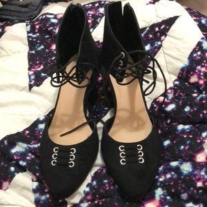 Torrid Black Wedge Lace Up Heel